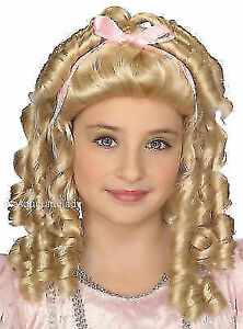 Fairy Tale Princess Child Blonde Wig Little Doll Girl Goldielocks Costume Accent