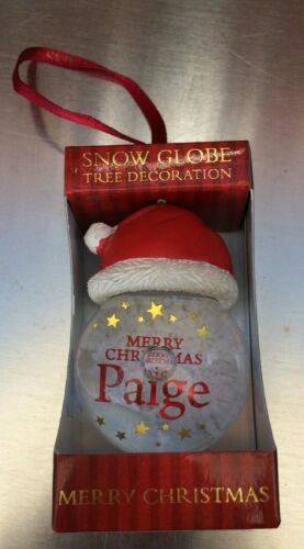 Personalised Christmas Tree Decoration Snow Globe Clear with Red Santa Hat Top