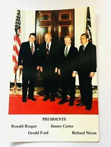 1981-Four-President-Post-Card-Reagan-Ford-Carter-Nixon-POTUS-Postcard