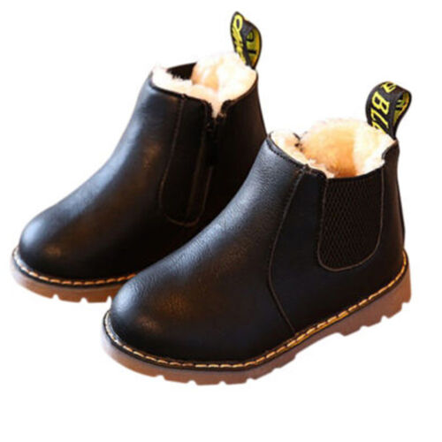 Kids Girls Boys Autumn Winter Fur Warm Shoes Ankle Boots Martin Boots Shoes Flat
