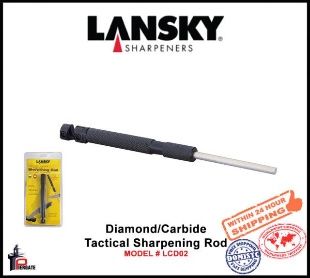 Lansky Blk Retractable Diamond/Carbide Tactical Sharpening Rod Fine Grit LCD02