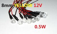 10pcs Prewired 8mm Yellow Waterclear Leds Superbright Light Bulb Car 12v A253