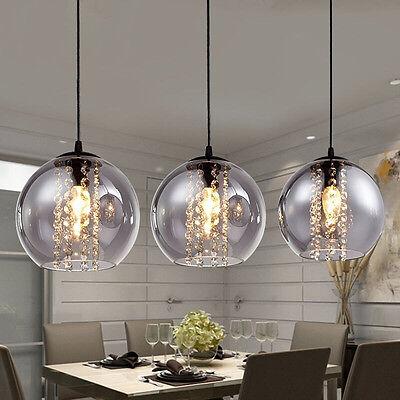 Modern 3-light Glass Ball Crystal Ceiling LED Light Kitchen Bar Chandelier Lamp