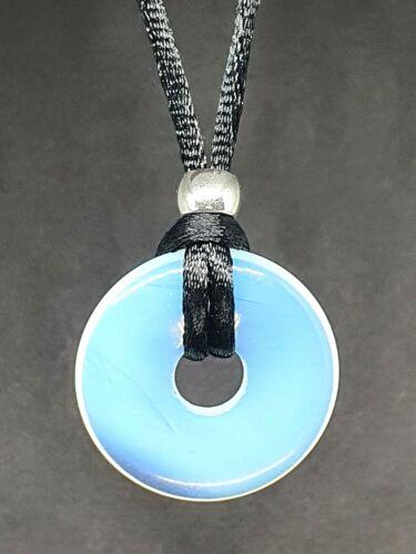 Opalite Donut Colgante 30mm Argenon Mar Ópalo Piedras Preciosas Chakra de Encaje Collar