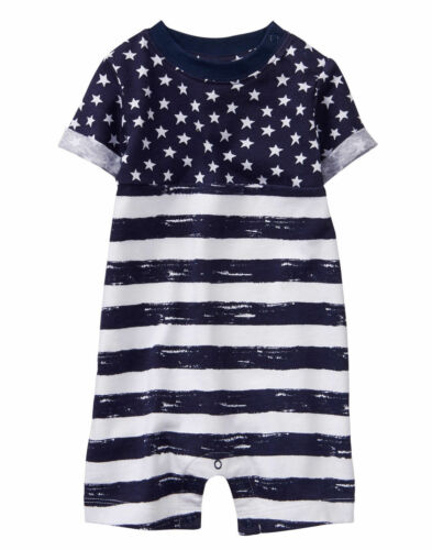 NWT Gymboree Baby Boy Romper Stars and Stripe 1 PC Many sizes July 4th