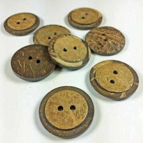 25mm Botones de cáscara de coco 2 cierre de agujero granos Coser Tejer Cierres Toys