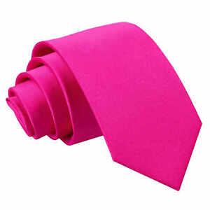 DQT-Satin-Plain-Solide-Rose-chaud-enfants-enfant-communion-Page-Garcons-Cravate