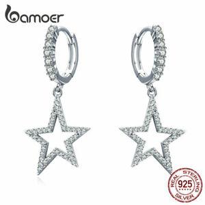 BAMOER-Women-Stud-Earrings-S925-Sterling-Silver-AAA-Zircon-Bright-Star-Jewelry