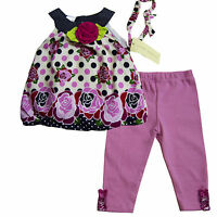 Laura Ashley Baby Girls Shirt Legging & Headband Outfits Size 3 6 9 Months
