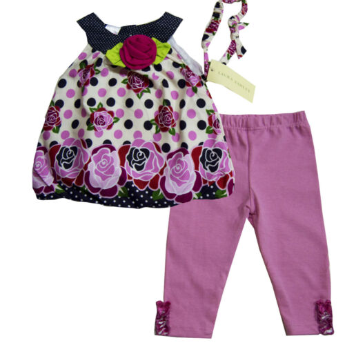 NWT Laura Ashley Baby Girls Shirt legging /& Headband Outfits Size 3 6 9  months