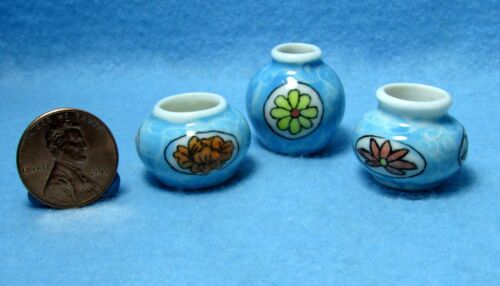 Pots ~ P473 Dollhouse Miniature Set of 3 Small Colorful Vases