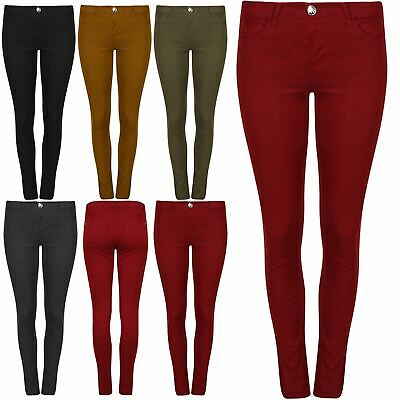 Ladies Womens Skinny Slim Fitted Pocket Denim Plain Stretchy Trouser Pant Jeans