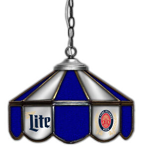 Miller Lite Beer Stained Glass Mirror Table Light Poker 14 ...