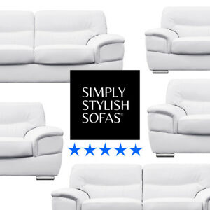 BARLETTA Italian Inspired White Leather Sofas 3 + 2 Seaters + ...