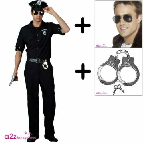 HANDCUFFS  Police Uniform Fancy Dress SPECS Mens New York Cop COSTUME HAT