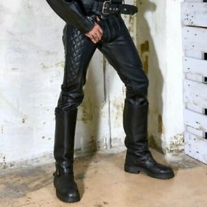 Para-hombres-Cuero-Genuino-Negro-Real-Ocultar-Pantalones-Jeans-Pantalon-Motocicleta