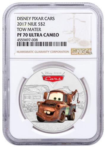 2017 Niue Disney Cars Tow Mater 1 oz Silver Colorized $2 NGC PF70 UC SKU48206