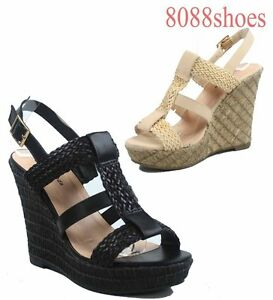 Women-039-s-Strappy-Braid-Buckle-Open-Toe-Wedge-Platform-Sandal-Shoes-Size-6-10