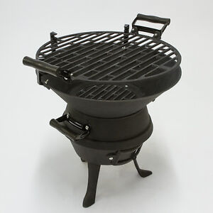 Image Is Loading Portable Charcoal Bbq Grill Cast Iron Fire Pit