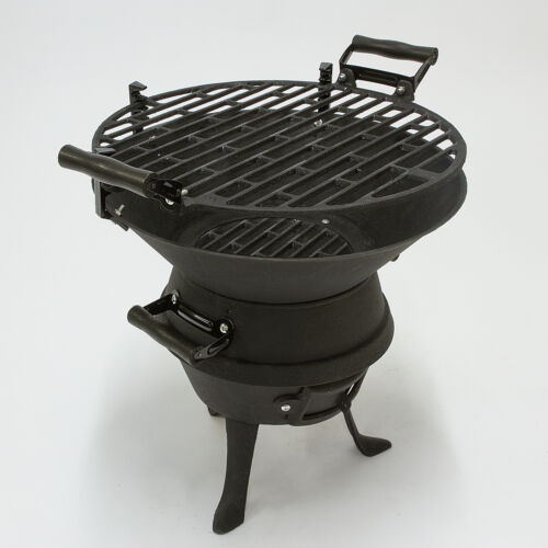 PORTABLE CHARCOAL BBQ GRILL CAST IRON  FIRE PIT GARDEN PATIO CAMPING BARBECUE