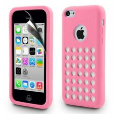 Pink Matte TPU Silicone Case Cover with Retro Dot Holes for iPhone 5C