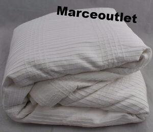 Hotel-Collection-Pleated-Stripe-Cotton-FULL-QUEEN-Duvet-amp-Standard-Shams-White