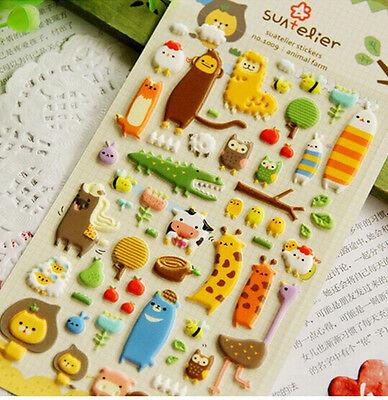1 x sheet Animals Zoo Snails Cow Crocodile stickers scrapbook DIY #115