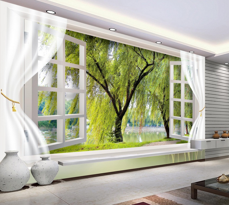3D Grün Tree Window8 Wallpaper Mural Paper Wall Print Wallpaper Murals UK Lemon
