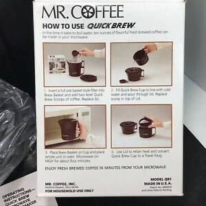 Mr-Coffee-Quick-Brew-Microwave-Coffeemaker-10oz-TRAVEL-MUG-Incl-Snap-On-Lid-NOS