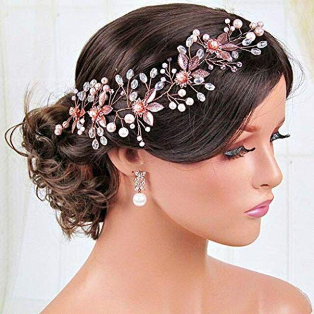 Pearl Hair Vine Rose Gold Wedding Hair Vine Bridal Hair Piece Wedding Flower Crown Hair Accessory Long Hair Wreath Bridal Hair Vine