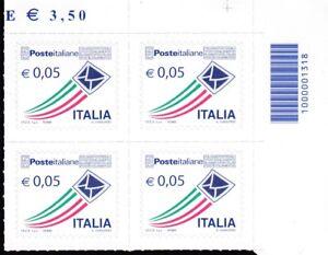 ITALIA 2010 POSTA PRIORITARIA ITALIANA IN QUARTINA DA 0,05 CON CODICE A BARRE - Italia - ITALIA 2010 POSTA PRIORITARIA ITALIANA IN QUARTINA DA 0,05 CON CODICE A BARRE - Italia