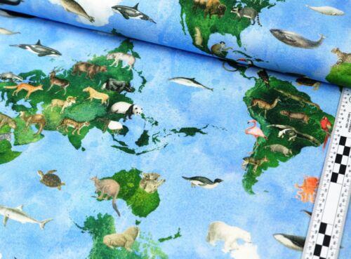 EUR 10,98//m Canvas Baumwolle Stoff Meterware Erde Tiere Meer kleine wilde Tier