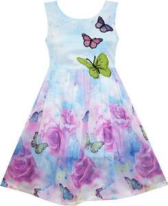 Sunny-Fashion-Robe-Fille-Rose-Fleur-Imprimer-Papillon-Broderie-Pourpre-4-12-ans