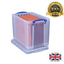 Really Useful Filing Box Plastic with 10 suspension files A4 19 Litre W290xD255x