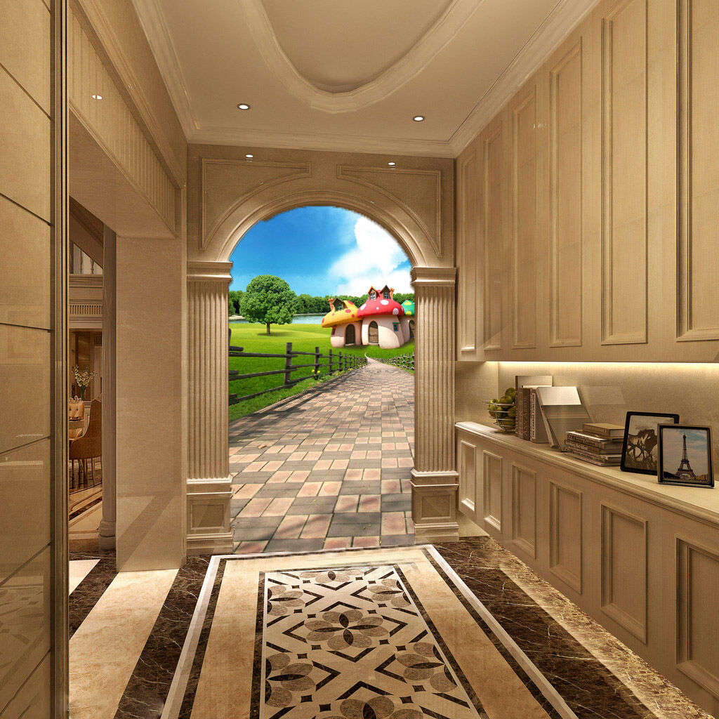 3D Jolie Maison 58 Photo Papier Peint en Autocollant Murale Plafond Chambre Art