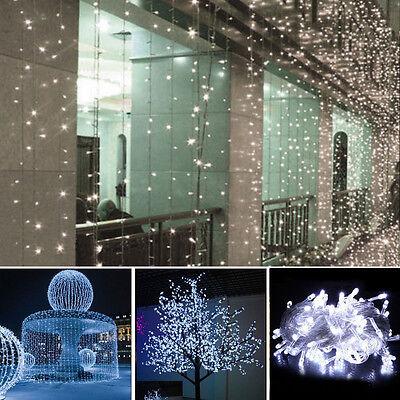 10M 100 LED White Wedding Xmas Party Decor Outdoor Fairy String Light EU/US Plug