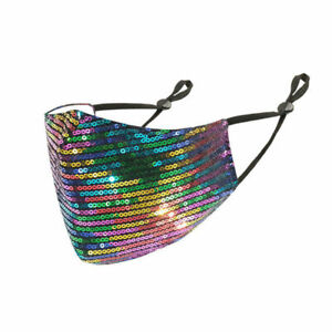 10Pcs Colorful Fashion Sequin Sparkly Bling Women Face Cover Cover Glitter