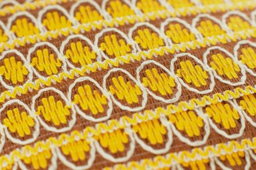 10 metres × 45mm Yellow /& Brown Jacquard Braid Cotton Lace Trim Vintage