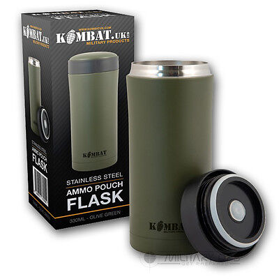 STAINLESS STEEL THERMAL FLASK AMMO OLIVE GREEN MUG CUP HOT DRINKS TEA COFFEE