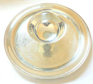 Vintage Oneida Jefferson Chip And Dip Serving Tray With Box Silver Plate 12 1 2 Ebay