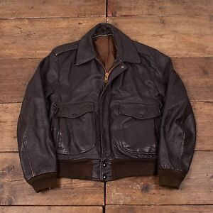 "Mens Vintage Leather Bomber Flight Jacket Talon Zip Brown 40"" M ..."