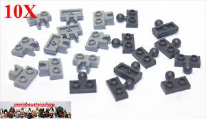 10-Paar-Lego-14417-14704-Platten-1X2-m-Kugelgelenk-Kupplung-Grau-NEU