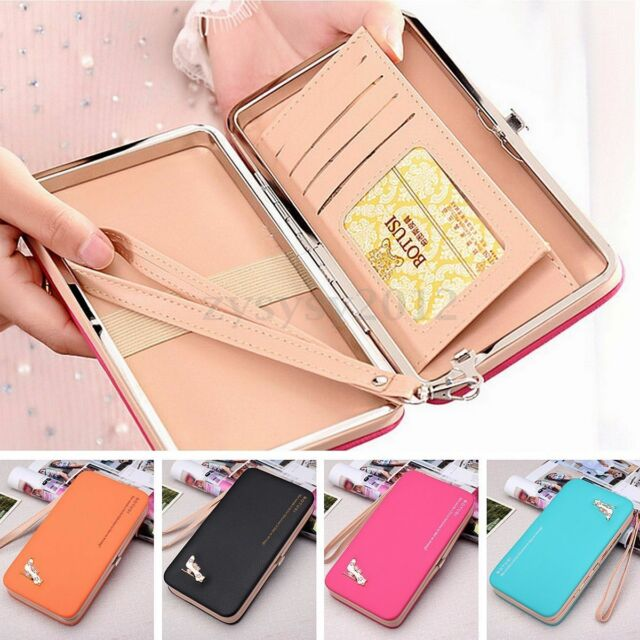 Women Lady Leather Wallet Purse Long Handbag Clutch Box Bag Phone Card Holder