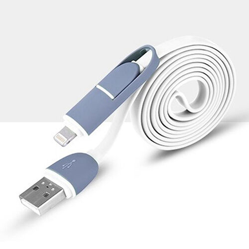 2 in 1 Earnest Micro USB + Lightning Sync Data Charger Adapter Cable For Samsung