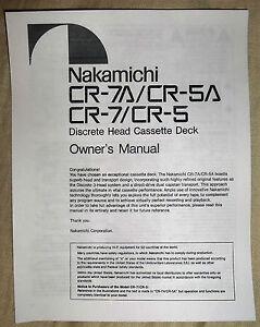 nakamichi cr 7a cr 5a cr 7 cr 5 discrete head cassette deck owners rh ebay ie Nakamichi Home Audio Nakamichi Home Audio