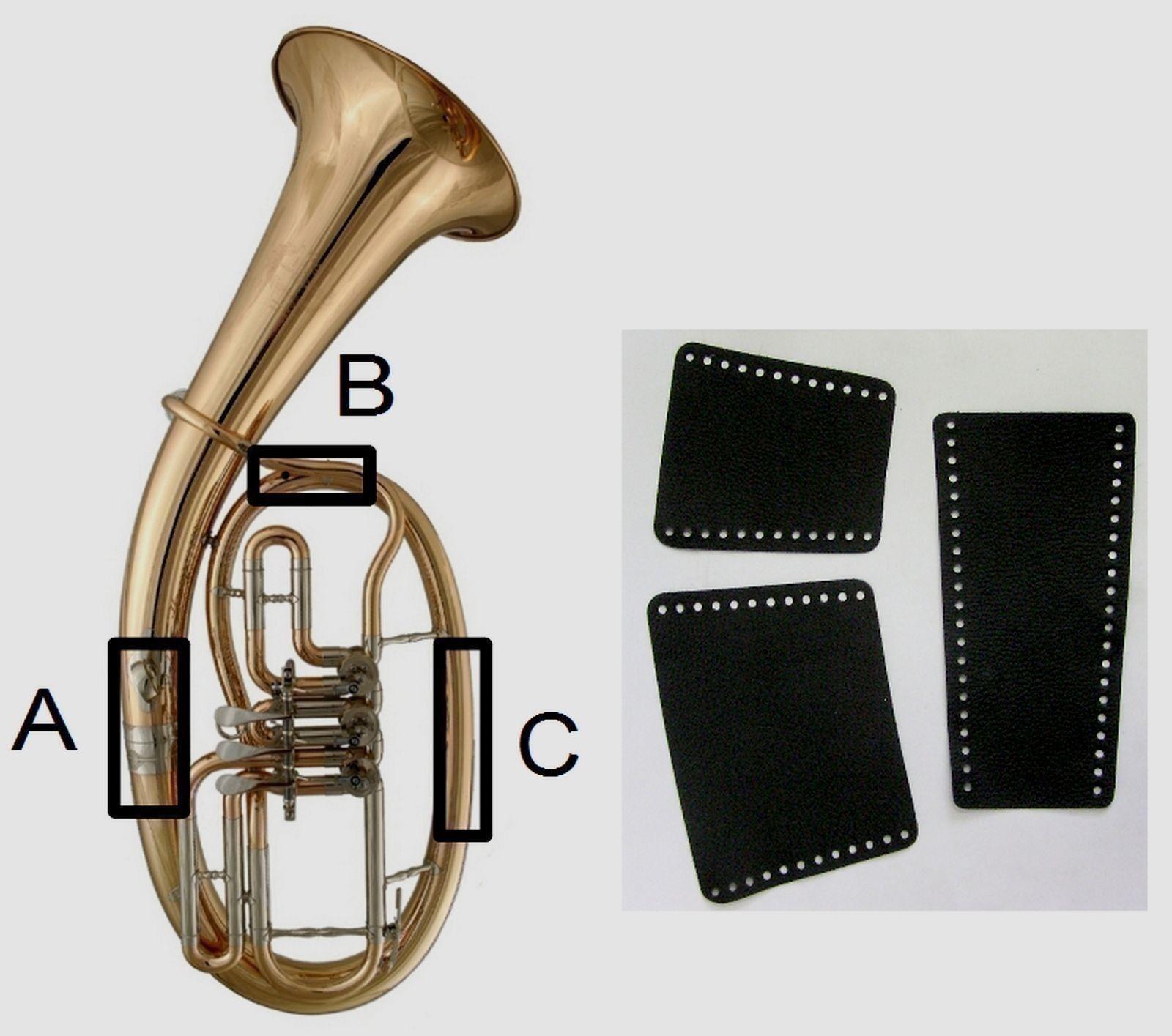 Hochwertiger Handschutz passend für Tenorhorn, echt Leder, mit Schürverschluss