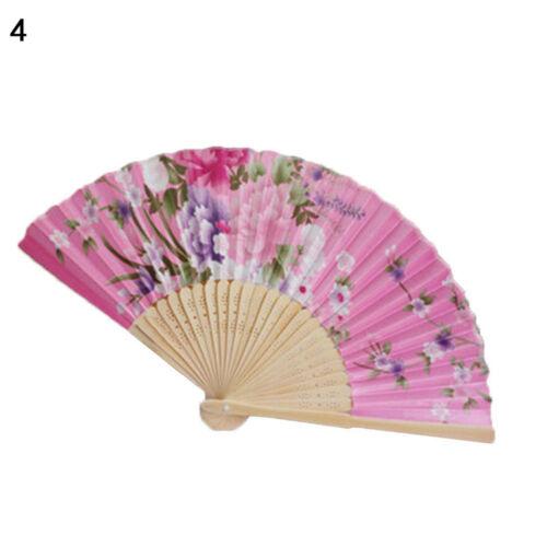 Eg /_ Zimmerantenne Vintage Bambus Faltbar Handfächer Blume Fächer Chinesisch