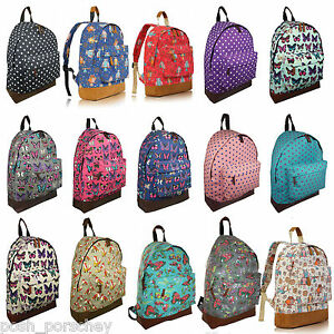 ac769dc7f9 Image is loading A4-Canvas-Backpack-Ladies-Girls-Bag-Rucksack-Fashion-