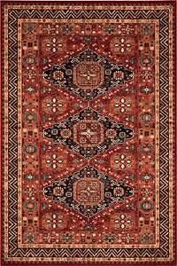 Wool Red Rust Beige Nomadic Kazak