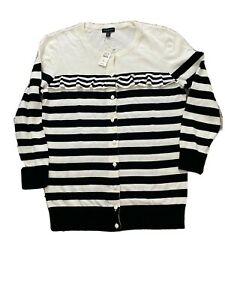 Women-039-s-Talbots-Black-White-Striped-Cardigan-Sweater-XS-Cotton-Linen-Blend-89-5